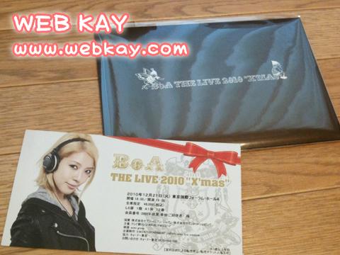 BoA the X'mas LIVE 2010 チケットとクリスマスカード