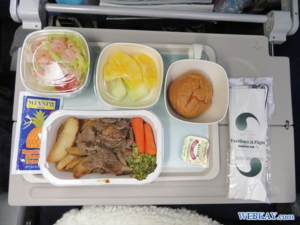 機内食 ビーフストロガノフ 大韓航空 KAL 成田 ハワイ 대한항공 ホノルル hawaii honolulu KOREAN AIR LINES