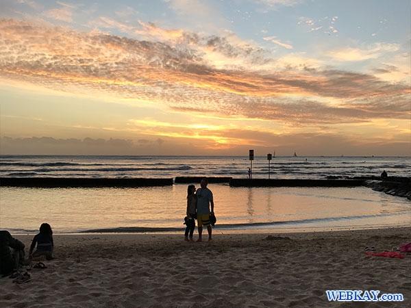ハワイ ワイキキビーチ 風景 サンセット 夕暮れ 夕焼け 海景色 Hawaii Waikiki Beach Sunset