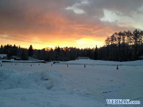 白馬岩岳スノーフィールド スノーボード 朝日