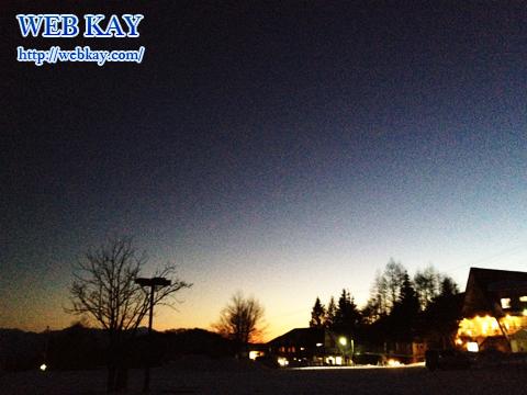 車山高源スキー場 駐車場 夕焼け
