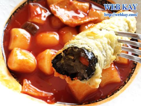 韓国ソウル市内 市場 屋台 立ち食い トッポッキ 揚げ物 キムマリ