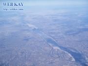韓国 ソウル 飛行機 空 冬景色 漢江