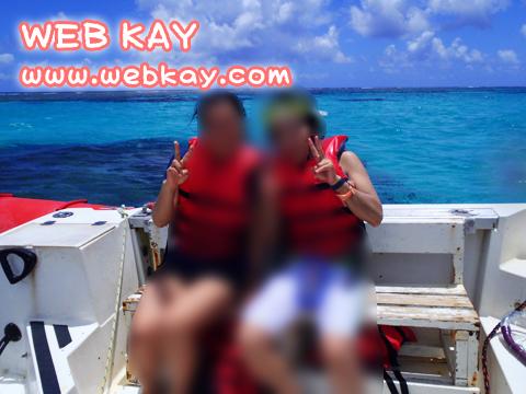 友達と二人。ボートの上で。