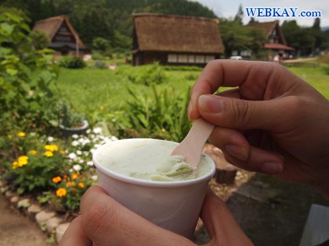世界遺産「富山県の越中五箇山菅沼集落」合掌造り 手作りアイスクリーム よもぎ